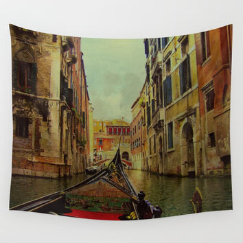 Venice, Italy Canal Gondola View Wall Tapestry by Theresa Campbell D'August Art