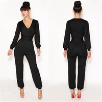 5 Colors V-Neck Sexy Fashion Long Sleeve Bodysuit With Pockets Elegant Plus Size Red Black Loose Rompers Women Jumpsuit WF007