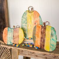 Recycled Painted Wooden Pumpkins (Set of 3)