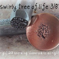 design stamp 3/8 inch curly FAMILY TREE  tree by sparklingshamrock