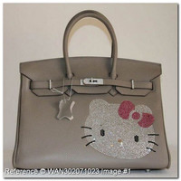 Hermes Birkin Rhinestone Hello Kitty Grey Leather Handbag 35cm