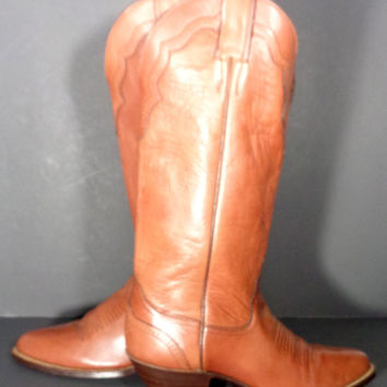 Justin Vintage Brown Leather Cowgirl Western Cowboy tall Boots Women's Size 7