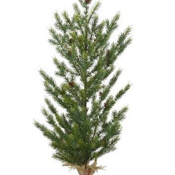 "Fake Tabletop Christmas Tree with Pine Cones - 36"" Tall"