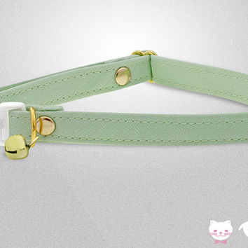 Carvas Mint Green Collar ••• Cat Collar, Breakaway Collar, Dog Collar