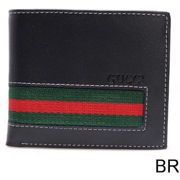 One-nice™ GUCCI Mens smooth black leather Elastic WEB Band bifold wallet NIB Authentc $425