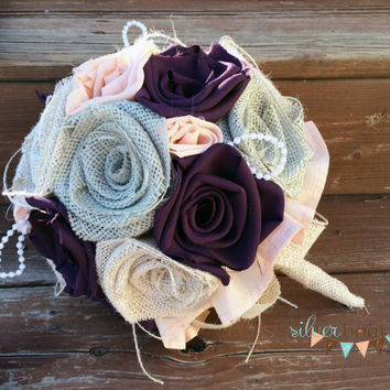 Burlap, Burlap Bouquet, Wedding Bouquet, Wedding, Purple, Peach, Sage, Bride, Rustic Wedding, Country Wedding, Burlap Bouquet Wrap, Favor
