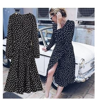 Toppies Women 2018 Women White Black Polka Dots Chiffon Dress Puff Sleeves Midi Long Dress Vintage Wrap Dresses