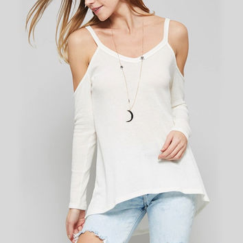 long sleeve cold shoulder thermal top - off white