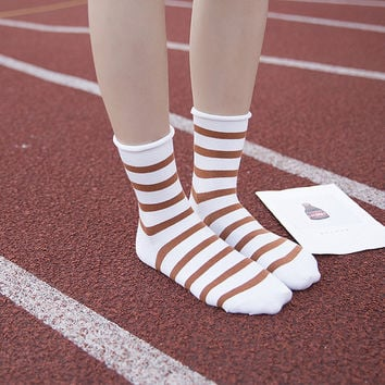 Ladies Winter Cotton Stripes Permeable Socks 5 pairs/set [10383437580]