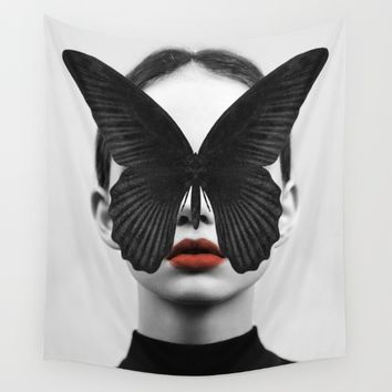 BLACK BUTTERFLY Wall Tapestry by Dada22