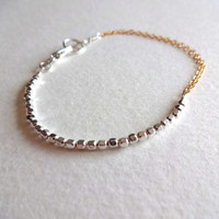 14k Gold Fill Double Chain and Sterling Silver Bead Delicate Bracelet