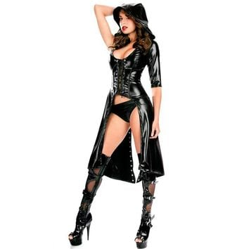 Dower Me New Arrival Sexy Gothic Punk Fetish Black Latex Catsuit Faux Leather Pirate Halloween Role Play Costume Jumpsuit 84402