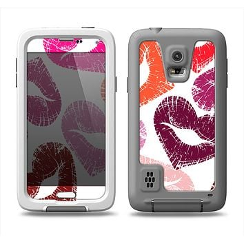 The Vector Puckered Color Lip Prints Samsung Galaxy S5 LifeProof Fre Case Skin Set