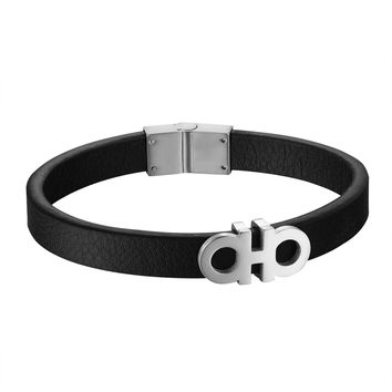 Black Leather Steel Bracelet 12mm Luxury AA