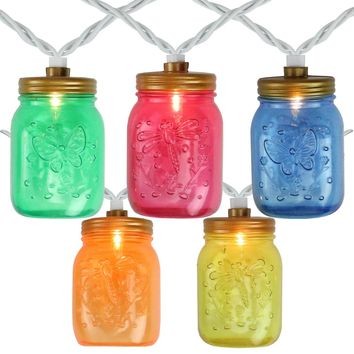 Set of 10 Multi-Color Mini Mason Jar Summer Garden Patio Lights - White Wire