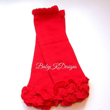 Girls Solid red Leg Warmers | Baby Legwarmers Ruffle Footless Sock | Knit Legging Cheerleader Soccer Birthday Dance Ballet Teen Arm Warmer