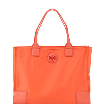 Ella Packable Nylon Tote Bag, Sea Coral