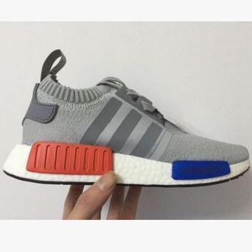 "Women ""Adidas"" NMD Boost Casual Sports Shoes Grey grey stripe"