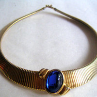 Vintage Monet Necklace with Goldtone Serpentine Chain and Blue Glass Pendant,Costume Jewelry, Egyptian Style.FREE SHIPPING