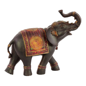 Resin Walking Trumpeting Indian Elephant Figurine with Red Blanket Small Painted Finish Espresso Brown