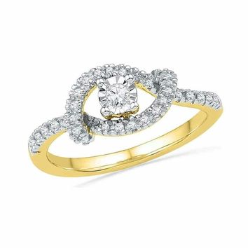 10kt Yellow Gold Women's Round Diamond Cradle Solitaire Promise Bridal Ring 1-4 Cttw - FREE Shipping (US/CAN)