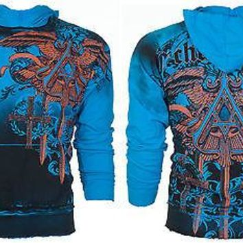 Licensed Official ARCHAIC by AFFLICTION Mens Hoodie Sweat Shirt Jacket DAVENTRY Biker MMA UFC $78