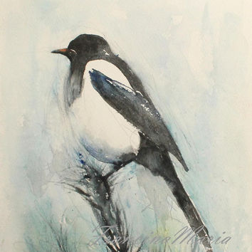 Bird watercolor painting animal art original Magpie aquarelle woodland blue black birds.