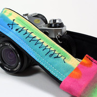 dSLR Camera Strap with pocket, Watercolors 1, Tie dye, Rainbow