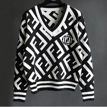 FENDI Autumn Winter Popular Women Casual Double F Letter Jacquard Long Sleeve V Collar Knit Sweater Top Sweatshirt White