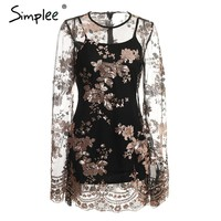 Simplee Sexy mesh floral sequin party dress women Flare sleeve transparent black short dress female Two piece summer vestido