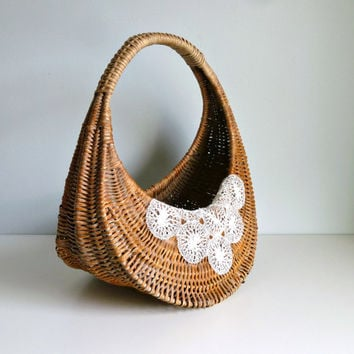 Mid Century Gondola Shopping Basket - Wicker French Style, Market, Summer - Storage, Display, Planter - Mad Men, 1960's, Home Decor