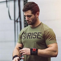 Men's Summer Gyms Casual T Shirt Gyms Fitness Bodybuilding Muscle Male Short Shirts Cotton Tee Tops Clothing