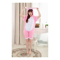 Unisex Adult Pajamas  Cosplay Costume Animal Onesuit Sleepwear Suit Summer   Pink  Stitch