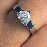 2.52ct F-SI1 GIA Heart Shape Diamond Sapphires Engagement Ring 18kt White Gold certified Blueriver47 Bridal Jewelry Anniversary rings