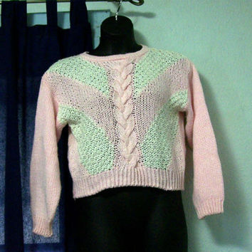 Pink and White Hand Knit Sweater