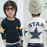 2015 Spring Boys T-Shirt Children Star Printed Long Sleeve T-shirt Cotton Bottoming Shirt Kids Clothing