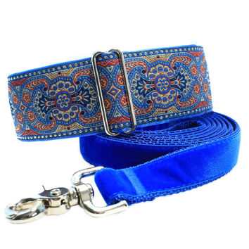 Blue Martingale Collar and Matching Leash, 2 Inch Martingale Collar, Jacquard Martingale Collar, Large Dog Collar, Greyhound Collar