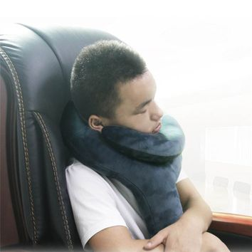Travel Neck Brace Pillow Inflatable Packable Neck Support Wrap for Airplane