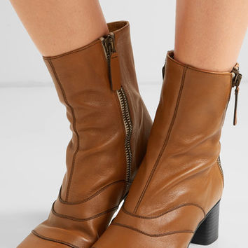 Chloé - Paneled leather ankle boots