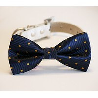 Navy and Gold Polka dots dog bow tie wedding, Dog Lovers, Dog birthday gift