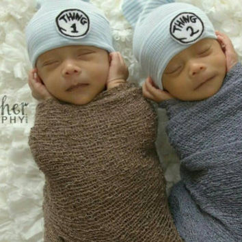 Twins! Thing 1 and Thing 2! Two Newborn Hospital Hats. Hospital Beanies. Newborn Baby Hats. Choice of Hat Colors!