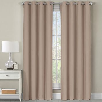 Beige Heavyweight Room-Darkening Grommet Curtain Panel (Single Panel)