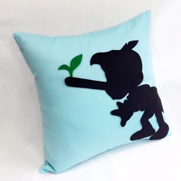 Color Choice. Pinocchio Silhouette Light Blue Decorative Pillow Cover 16inch Cushion Cover. Boys Room Pillow Nursery Decor. Baby Boy Shower