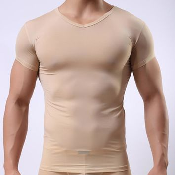 Men Sexy Ice Silk Sheer Bodysuit Undershirt Male Spandex Transparent Compression T-Shirt Mesh Seamless Shirts