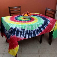 Tie Dye Tablecloth Rectangular Tapestry Cotton 60 x 90 inches Yellow Red Blue