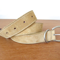 Women's light tan suede belt with silver buckle, size small