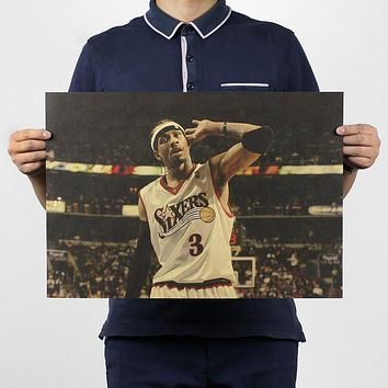 Vintage NBA Basketball Star Classic Allen Iverson Poster Bar Cafe Home Decor Retro Kraft Paper Wall Sticker 50x34cm
