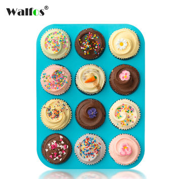 Walfos Thick 12 Cup Silicone Muffin pan &Cupcake Baking Pan Non-Stick silicone cake mold-12-Cup round Mini Muffin Pan form