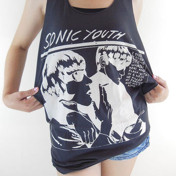 Sonic Youth Shirt -- Alternative Rock Indie Rock Music T-Shirt Sonic Youth T-Shirt Women Tank Top Tunic Sleeveless Black Shirt Size M