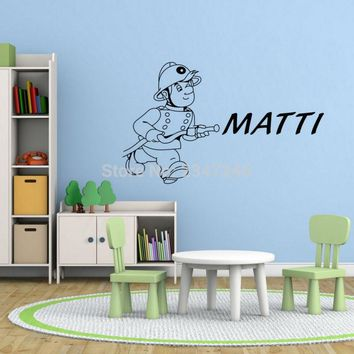 Firemen Personalised Name Wall Stickers Pompier Daisy Wall Art for Boys Room Dreaming of Hero Wall Decors Baby Room Decoration